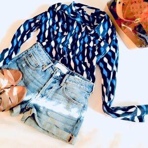 Michael Kors Navy Blue Ikat Button Down Shirt